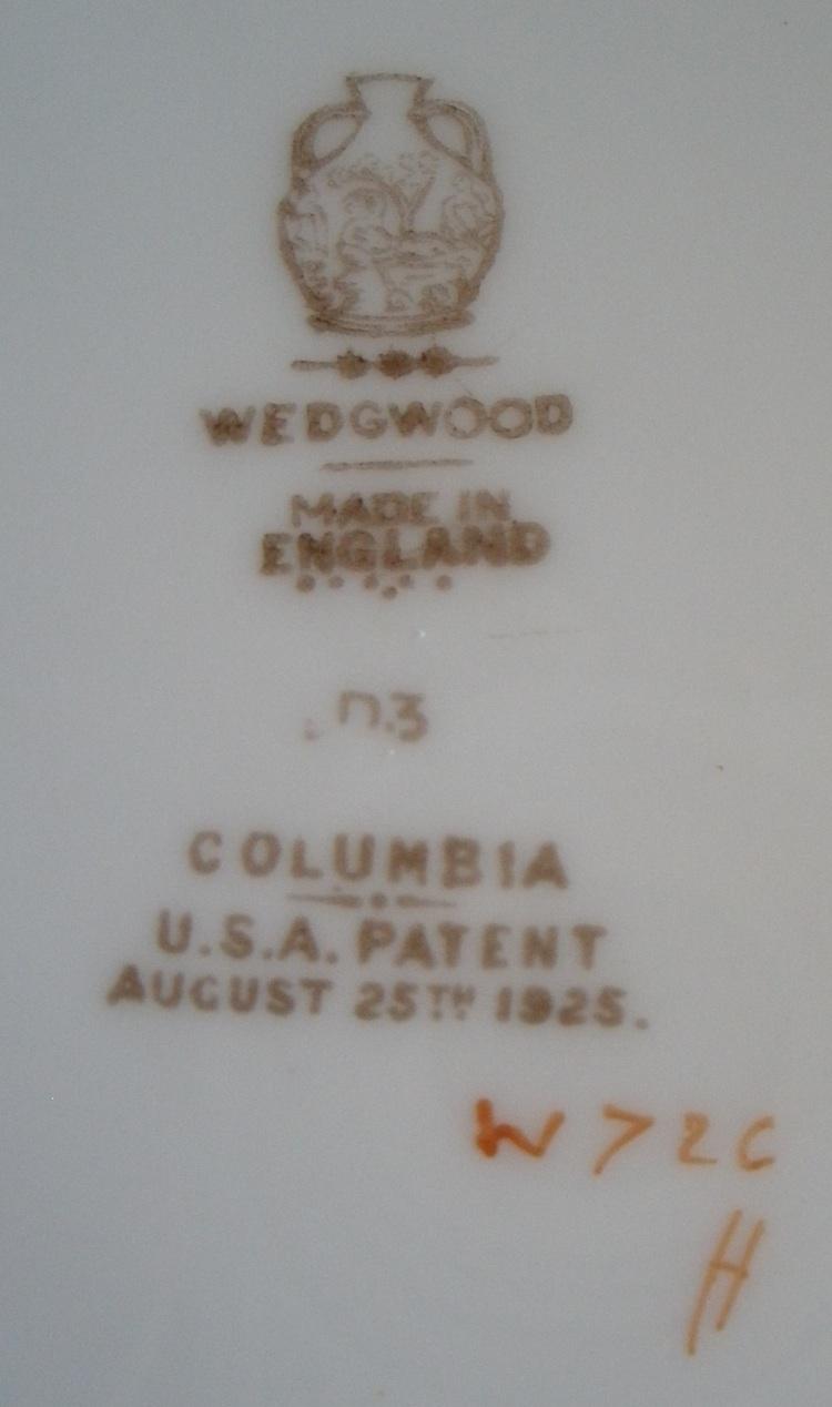 Wedgwood Columbia W726 Ivory Bone China Salad Plate 10.5 Inches Markings On Back