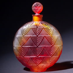 Rene Lalique Perfume Bottle Vers Le Jour for Worth in Amber Glass