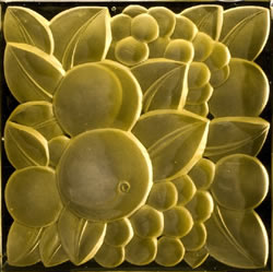 Rene Lalique Architectural Panel Fruits in Yellow Glass for the Oviatt Building Circa 1927