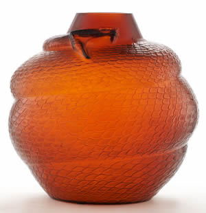 Rene Lalique Serpent Vase in Amber Glass