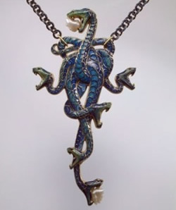 Lalique Jewelry Pendant Serpents at Exhibition in San Francisco from the Hermitage