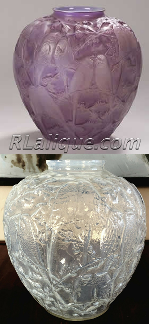 R Lalique Vase Perruches Fake - Not by Rene Lalique