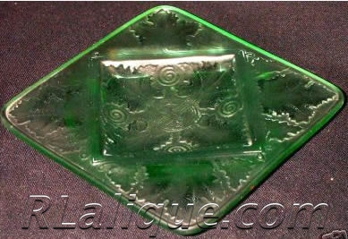 Fake R Lalique Vezelay Ashtray in Green Glass - Not by Rene Lalique