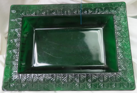 Charme Tray In Green Glass That Is A Close Call Copy of the Original Rene Lalique Design