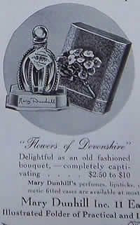 Flowers of Devonshire Perfume Bottle By Mary Dunhill 1938 Ad Showing one of the 2 Close Copy Bottles of both the original R. Lalique Gregoire Perfume Bottle and the Original R. Lalique Flowers of Devonshire Perfume Bottle for Mary Dunhill