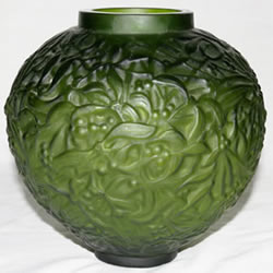Gui Vase in Green Glass Unsigned Highly Suspicious Example of Rene Lalique Gui Vase Design