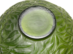 Gui Vase in Green Glass Bottom View Unsigned Highly Suspicious Example of Rene Lalique Gui Vase Design