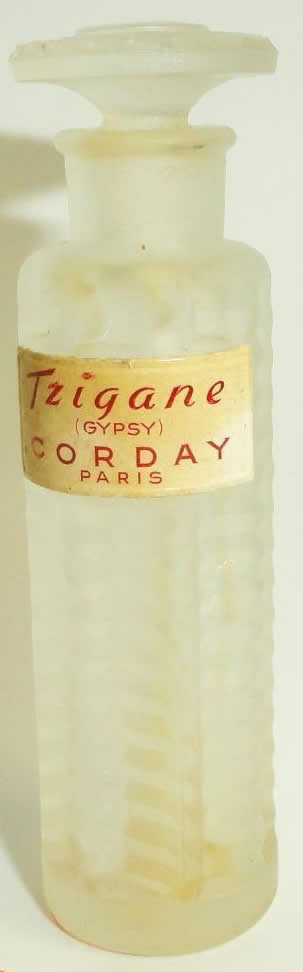 Close Copy of the Original R. Lalique Tzigane Perfume Bottle For Corday having the Gypsy Label, No Serrated Bottom Stopper Edge, and No Signature on the Underside