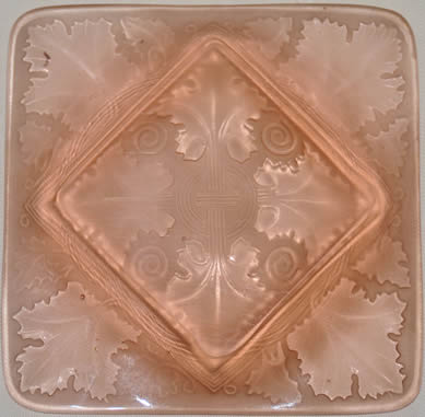 Fake R Lalique Vezelay Ashtray in Pink Glass - Not by Rene Lalique