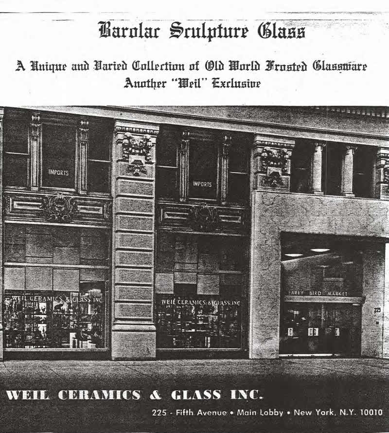 Weil Ceramics & Glass Inc. Catalog For Barolac Sculpture Glass - Czech Bohemian Glass That Is Often Found With Fake or Forged R. Lalique France Signatures: Title Page