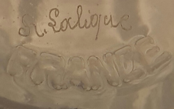 Rene Lalique Signature on a Haarlem Glass Example 2 of 3