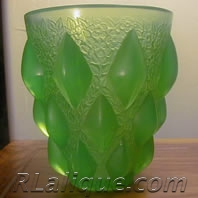 R. Lalique Rampillon Green Opalescent Vase