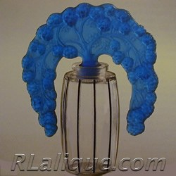 R.Lalique Bouchon Mures Blue Tiara Stopper Perfume Bottle