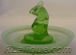 R.Lalique Lapin Green Opalescent Ashtray by Rene Lalique