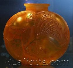 R Lalique Poissons Yellow Vase by Rene Lalique