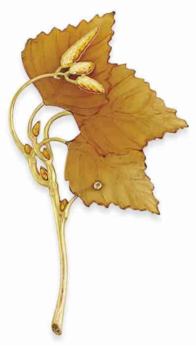 Rene Lalique Brooch Autumn Leaves