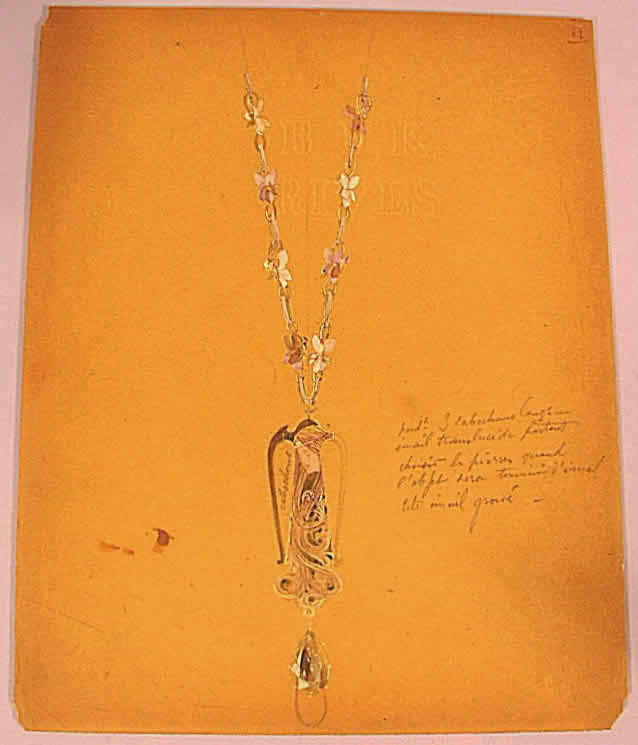 Rene Lalique Autumn Maiden Pendant Drawing