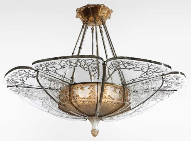 Rene Lalique Chandelier Chasse