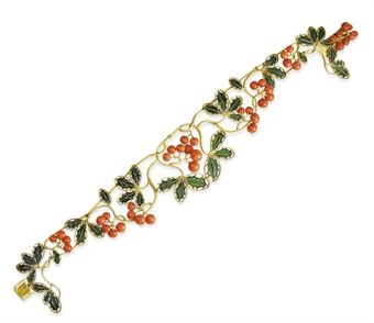 Rene Lalique Holly And Coral Berries Necklace