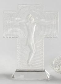 Rene Lalique Jesus Christ On Cross Statue
