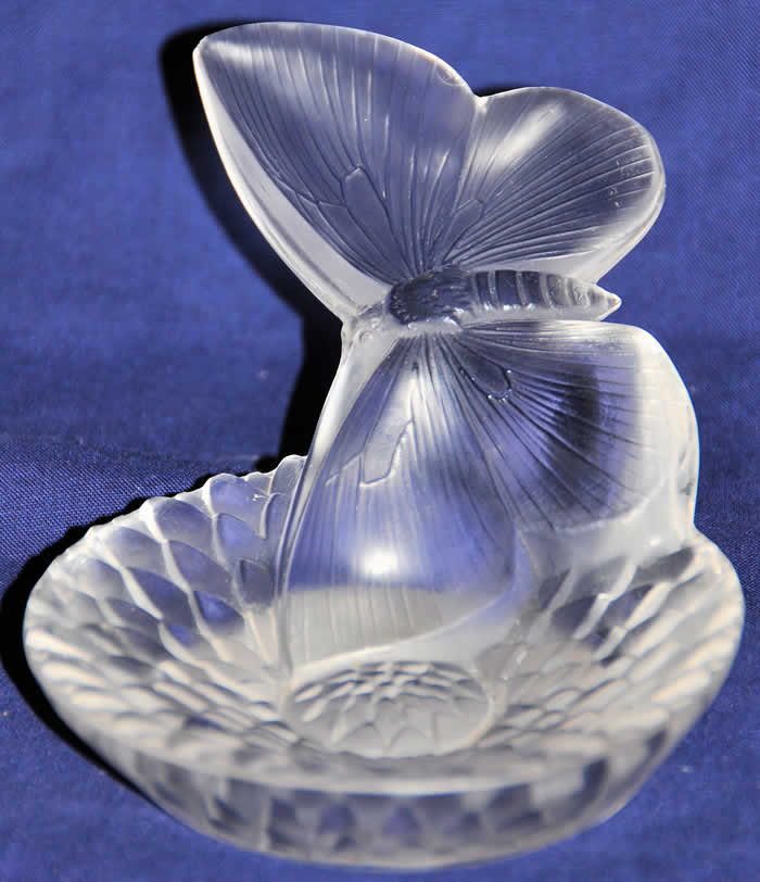 Rene Lalique Dahlia Et Papillon Ashtray