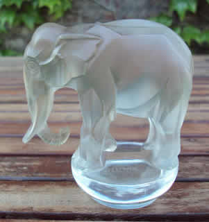 Lot 2 Lalique Elephant Paperweight