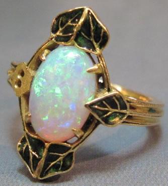 Rene Lalique Feuilles De Lierre Et Opale Ring