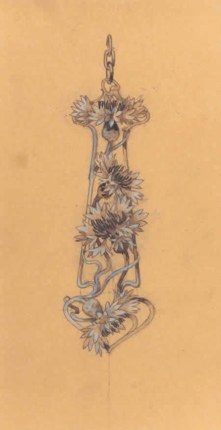 Rene Lalique Floral Pendant Drawing