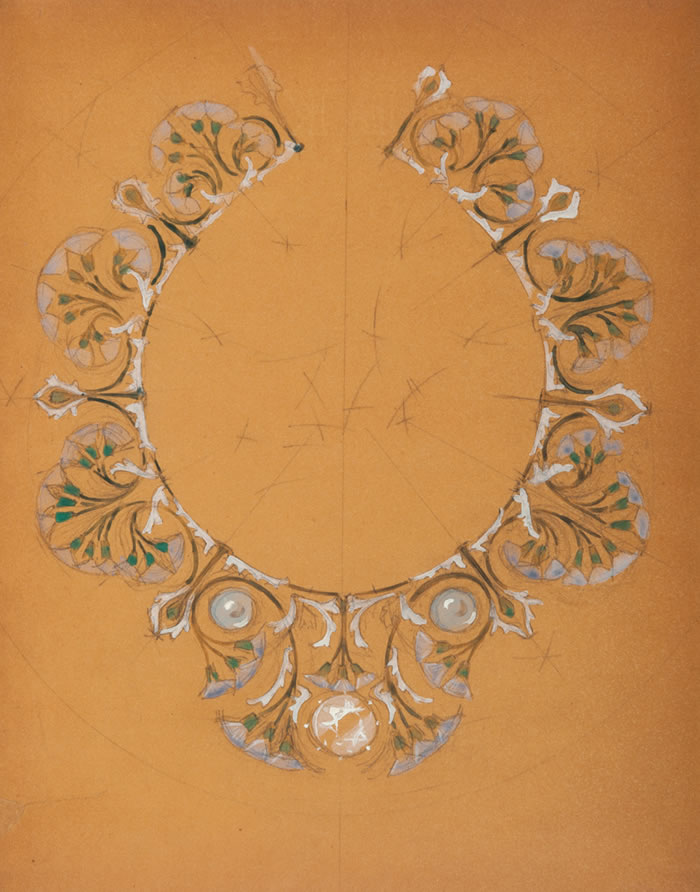Rene Lalique Flowers and Pearls Drawing