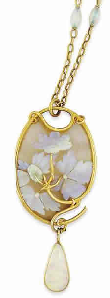 Rene Lalique Flowers On Glass Pendant