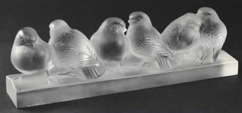 Rene Lalique Group Of Six Birds Decoration