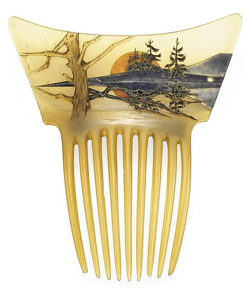 Rene Lalique Orange Sun Landscape Comb