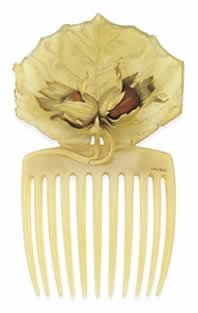 Rene Lalique Hazel Leaf And Chestnuts Comb