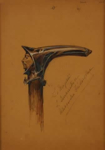 Rene Lalique Hooded Male Cane Handle Drawing