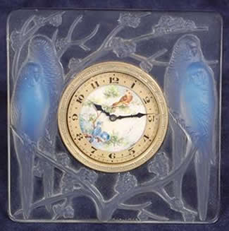 Rene Lalique Table Clock Inseparables