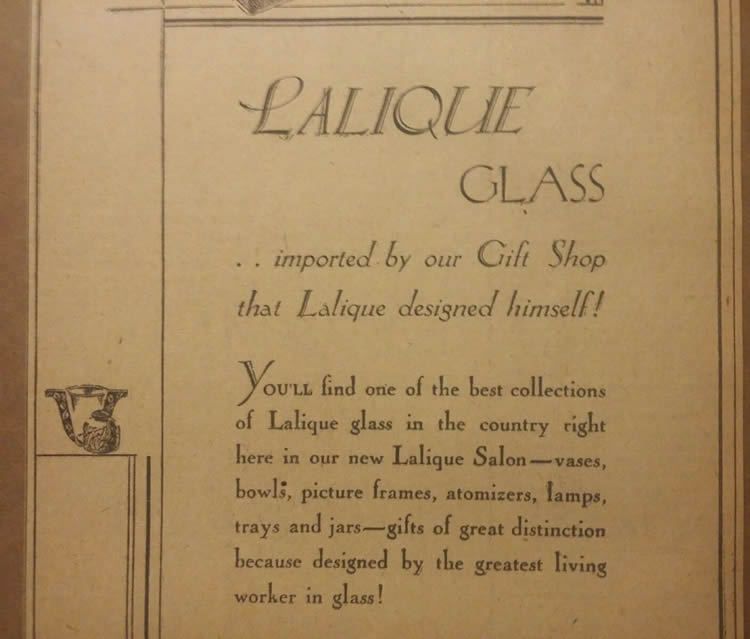R. Lalique Jay Thorpe Newspaper Ad