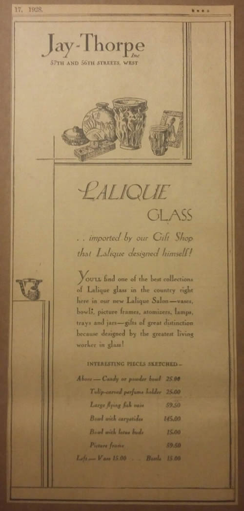 Rene Lalique Jay Thorpe Newspaper Ad