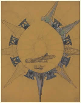 Rene Lalique Pointed Necklace Drawing