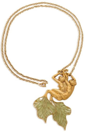 Rene Lalique Pendant Leaf Tailed Sirens