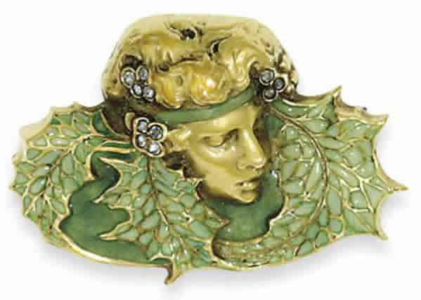 Rene Lalique Leafed Woman Brooch
