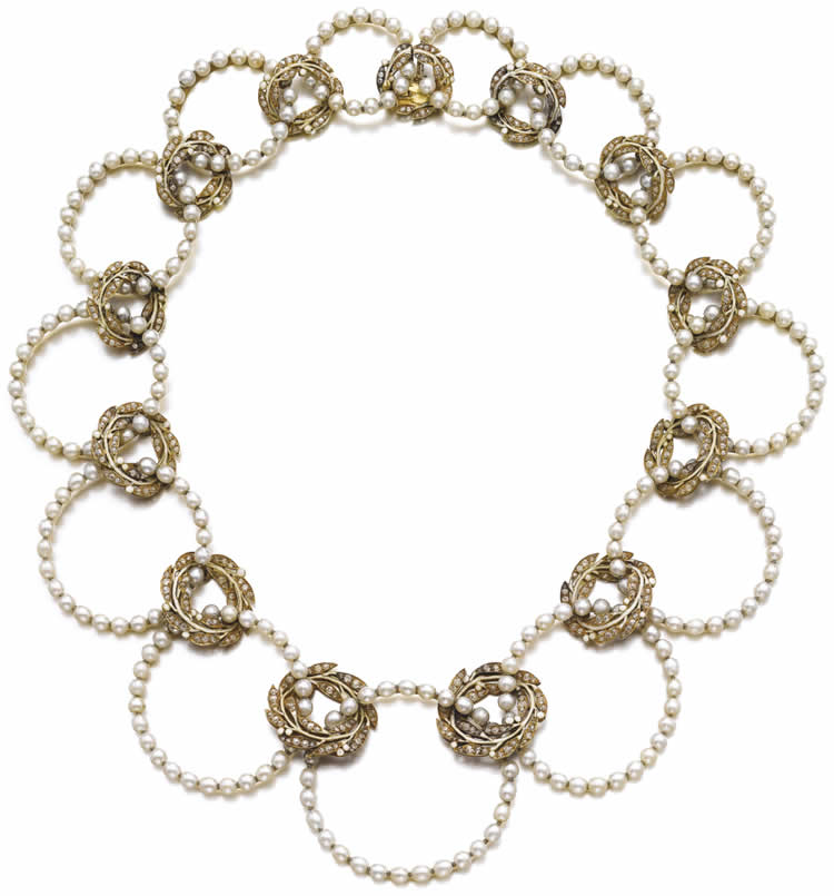 Rene Lalique Leaves And Pearl Hoops Necklace