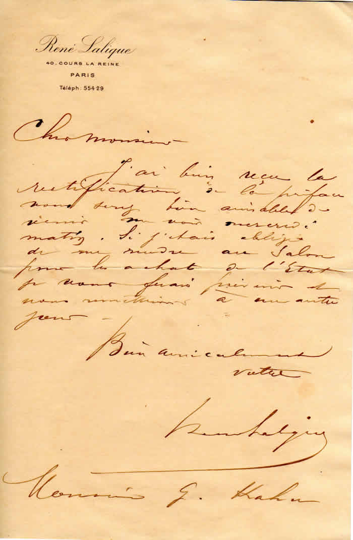 Rene Lalique Autographed Signed To Gustave Kahn Letter
