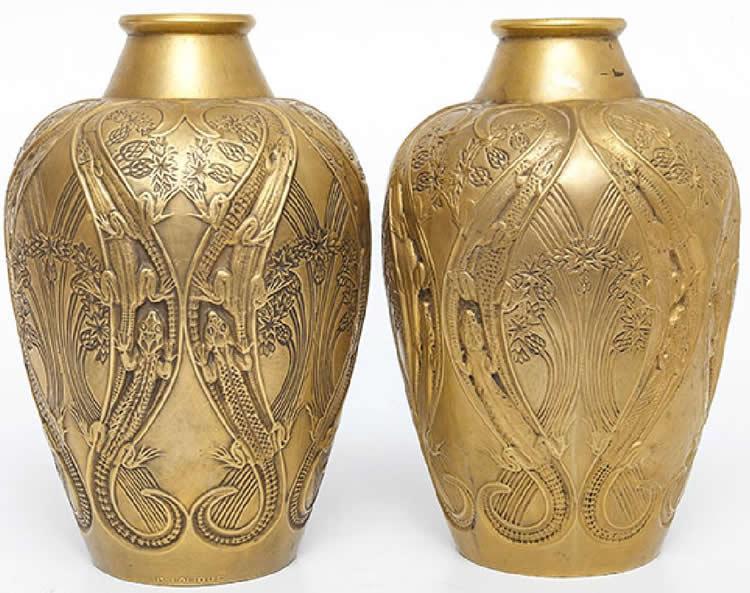 Rene Lalique Vase Lezards Et Bluets