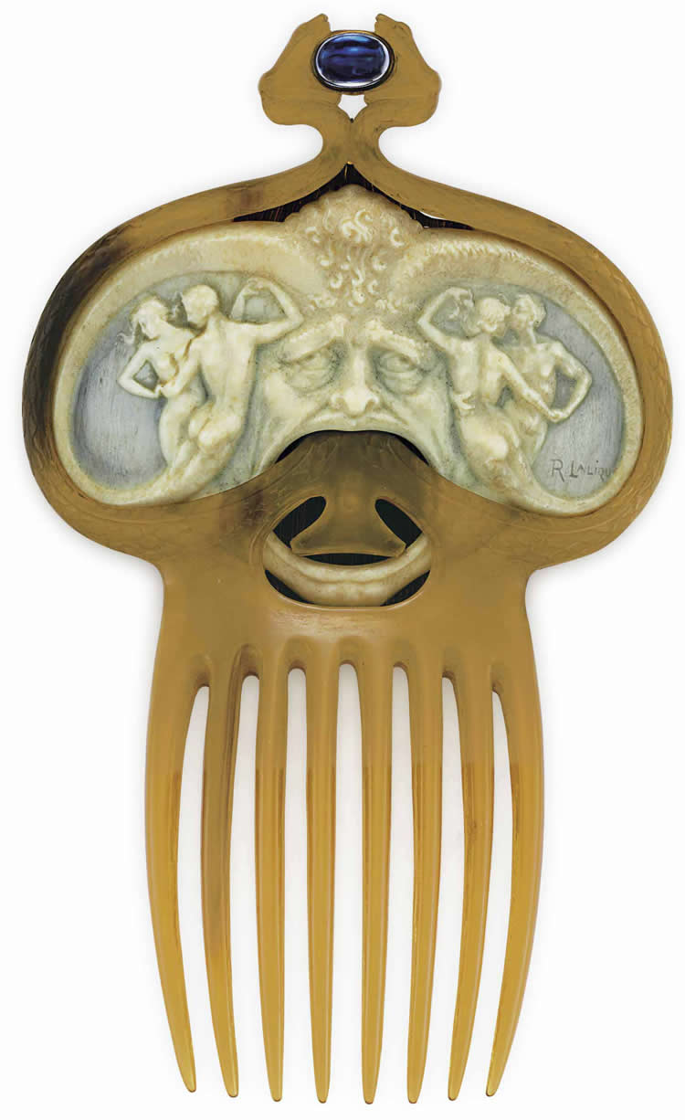 Rene Lalique Comb Masque With Pairs of Dancing Nymphs And Serpents