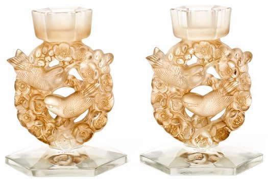 Rene Lalique Candlestick Mesanges