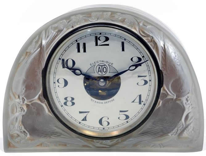Rene Lalique Clock Moineaux
