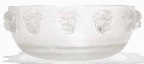 R. Lalique Monkey Bowl
