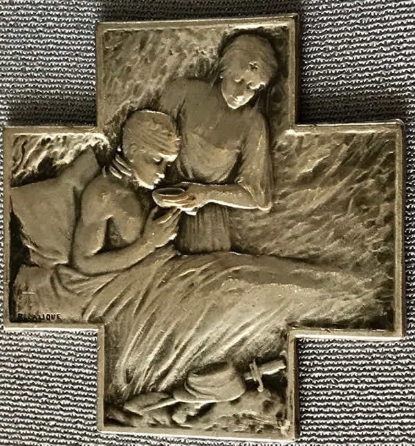 Rene Lalique Plaque Nurse Cares For Wounded Soldier