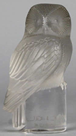 R. Lalique Owl Paperweight