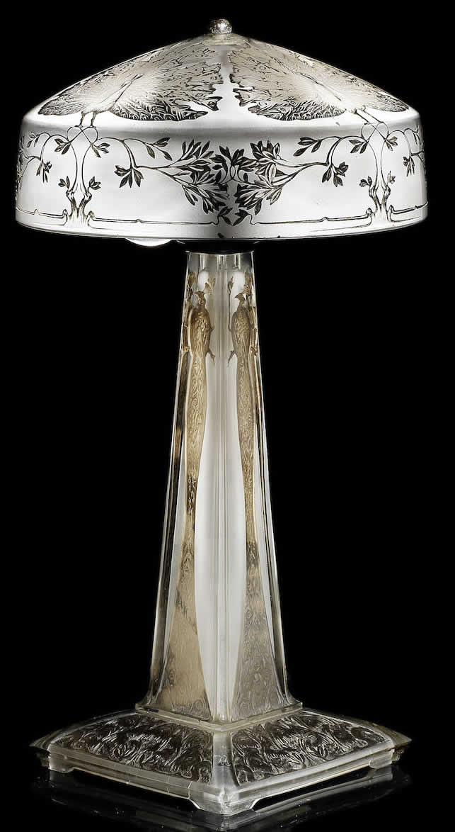 Rene Lalique Paons Table Lamp